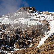 The icy and rugged Western Breach as seen from Lava Tower on Mt Kilimanjaro's Lemosho Route.