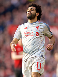 MANCHESTER, ENGLAND - Sunday, February 24, 2019: Liverpool's Mohamed Salah looks dejected during the FA Premier League match between Manchester United FC and Liverpool FC at Old Trafford. (Pic by David Rawcliffe/Propaganda)