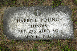 31 August 2017:   Veterans graves in Park Hill Cemetery in eastern McLean County.<br /> <br /> Harry Poling Illinois Private 275 AERO SQ May 14 1932