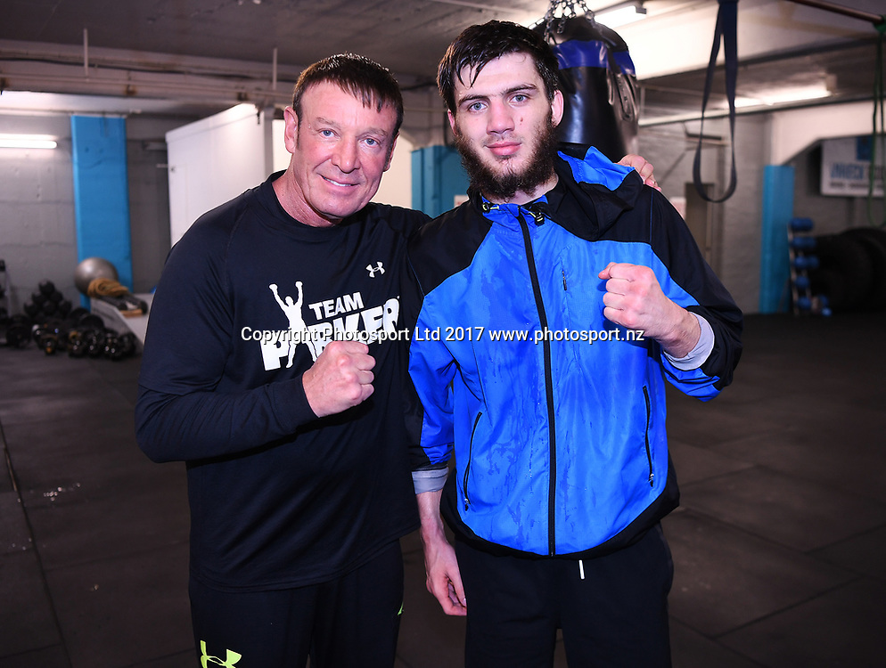Umar Salamov and trainer Kevin Barry at The Wreck Room, Auckland, New Zealand. Monday 1 May 2017. © Copyright Photo: Andrew Cornaga / www.photosport.nz