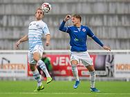 Jonas Henriksen (FC Helsingør) og Ferdinand Bangsgaard (Holbæk B&I) under kampen i 2. Division mellem FC Helsingør og Holbæk B&I den 6. september 2019 på Helsingør Ny Stadion (Foto: Claus Birch).