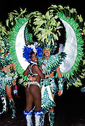 Dancers taking part in traditional Rio Carnival in Rio de Janeiro, Brazil