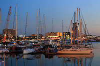 Yachts moored in the Barcelona Port in Barcelona, Spain
