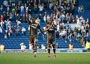 Ezri Konsa of Brentford and Kamohelo Mokotjo of Brentford applauds the fans at full time during the EFL Sky Bet Championship match between Blackburn Rovers and Brentford at Ewood Park, Blackburn, England on 25 August 2018.