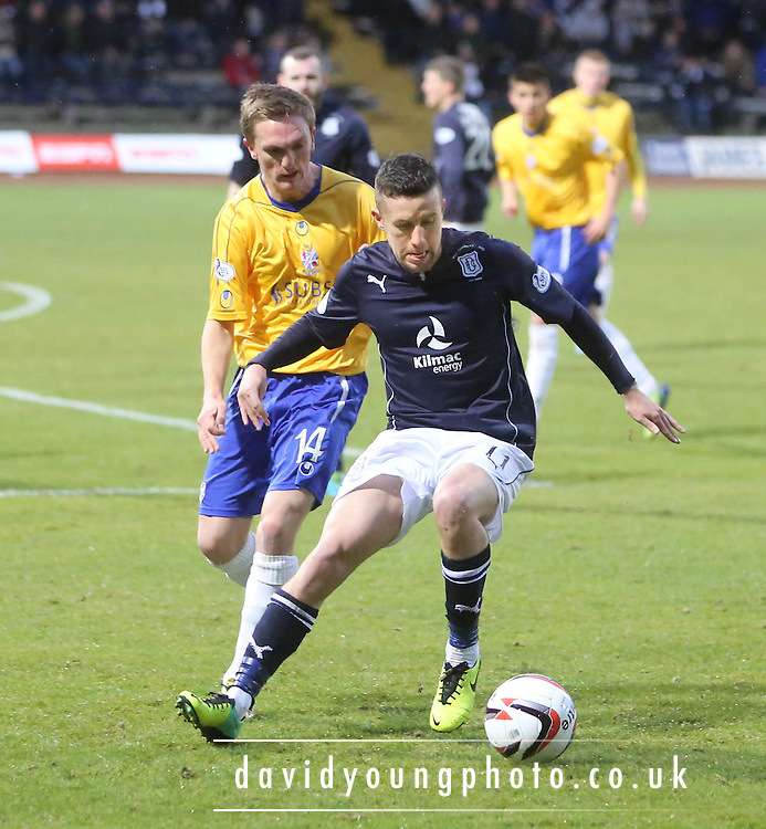 Ryan Conroy shields the ball from `Dean Brett - Dundee v Cowdenbeath, SPFL Championship at Dens Park<br /> <br />  - &copy; David Young - www.davidyoungphoto.co.uk - email: davidyoungphoto@gmail.com