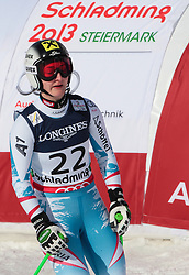 08.02.2013, Planai, Schladming, AUT, FIS Weltmeisterschaften Ski Alpin, Super Kombination, Slalom, im Bild Kathrin Zettel (AUT) // Kathrin Zettel of Austria reacts after Ladies Super Combined Slalom at the FIS Ski World Championships 2013 at the Planai Course, Schladming, Austria on 2013/02/08. EXPA Pictures © 2013, PhotoCredit: EXPA/ Sammy Minkoff