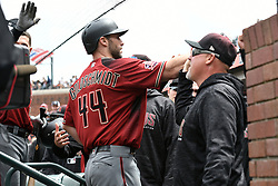 April 11, 2018 - San Francisco, CA, U.S. - SAN FRANCISCO, CA - APRIL 11:Arizona Diamondbacks First base Paul Goldschmidt (44) gets high fives as he enters the visitor dugout during the game between the Arizona Diamondbacks and the San Francisco Giants on Wednesday, April 11, 2018 at AT&T Park in San Francisco, CA (Photo by Douglas Stringer/Icon Sportswire) (Credit Image: © Douglas Stringer/Icon SMI via ZUMA Press)