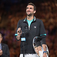 Marin Cilic of Croatia during the trophy presentation after the 2018 Australian Open on day 14 at Rod Laver Arena in Melbourne, Australia on Sunday afternoon January 28, 2018.<br /> (Ben Solomon/Tennis Australia)