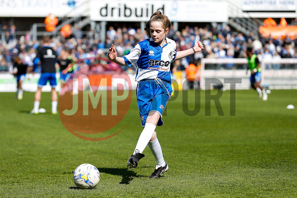 Mascots - Photo mandatory by-line: Rogan Thomson/JMP - 07966 386802 - 11/04/2015 - SPORT - FOOTBALL - Bristol, England - Memorial Stadium - Bristol Rovers v Southport - Vanarama Conference Premier.