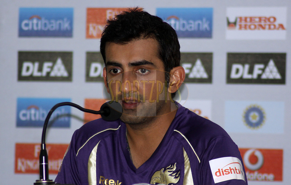 Kolkatta Knight Riders captain Gautam Gambhir during the press confrence after the match 65 of the Indian Premier League ( IPL ) Season 4 between the Pune Warriors and the Kolkata Knight Riders held at the Dr DY Patil Sports Academy, Mumbai India on the 19th May 2011..Photo by Sandeep Shetty/BCCI/SPORTZPICS..