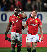 (l to R) Maro Itoje and Rory Best - Lions players walk off the field dejected following defeat to the Auckland Blues.<br /> Auckland Blues v British & Irish Lions, Eden Park, Auckland, New Zealand, Wednesday 7th June 2017<br /> Copyright photo: David Gibson / www.photosport.nz