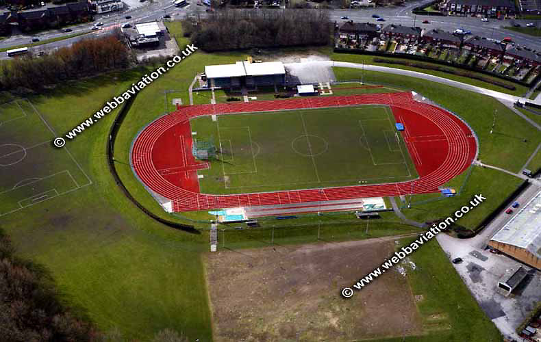 aerial photograph of the Norwood Stadium  Stoke-on-Trent Staffordshire UK - the  Potteries