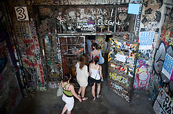 Interior of bohemian alternative Tacheles Kunsthaus or art workshop on Oranienburger Strasse in Berlin Germany