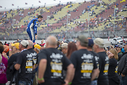 June 10, 2018 - Brooklyn, Michigan, United States of America - Alex Bowman (88) waits for the start of the FireKeepers Casino 400 during a weather delay at Michigan International Speedway in Brooklyn, Michigan. (Credit Image: © Stephen A. Arce/ASP via ZUMA Wire)