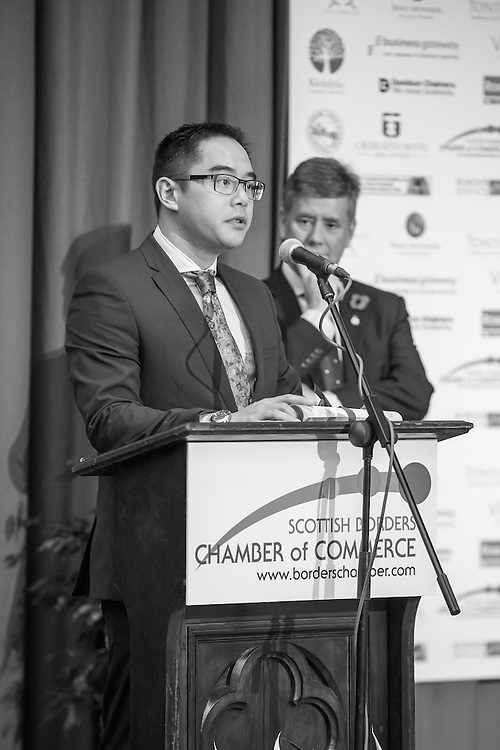 Announcing the candidates for the the 2015 Scottish Border Business Award winner for Creative Business of the Year. The award was sponsored by Roxburghe Hotel &amp; Golf Course.<br /> <br /> The 2015 Scottish Border Business Awards, held at Springwood Hall, Kelso. The awards were run by the Scottish Borders Chambers of Commerce, with guest speaker Keith Brown, MSP. The SBCC chairman Jack Clark and the presenter Fiona Armstrong co hosted the event.