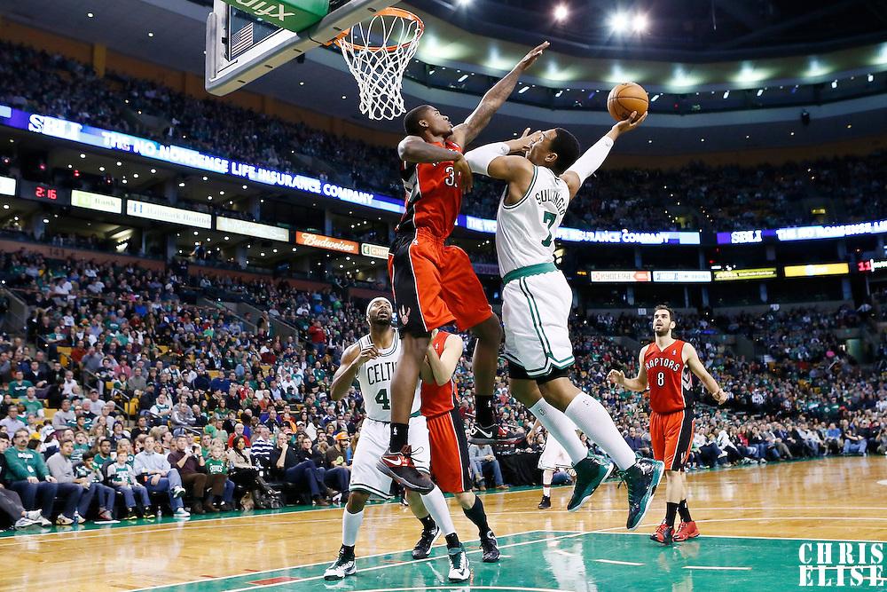 17 November 2012: Boston Celtics power forward Jared Sullinger (7) goes for the dunk over Toronto Raptors power forward Ed Davis (32) during the Boston Celtics 107-89 victory over the Toronto Raptors at the TD Garden, Boston, Massachusetts, USA.