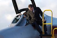 """03 NOV 2003, LAAGE/GERMANY:<br /> Gerhard Schroeder, SPD, Bundeskanzler, laesst sich von einem Piloten das Cockpit einer F-4F Phantom, ein Jagdflugzeug der Bundesluftwaffe, erklaeren, Besuch der Luftwaffe beim Jagdgeschwader 73 """"Steinhoff""""<br /> IMAGE: 20031103-01-023<br /> KEYWORDS: Bundeswehr, Bundesluftwaffe, Jet, Kampfflugzeug, Gerjard Schröder, Flugzeug, plane"""