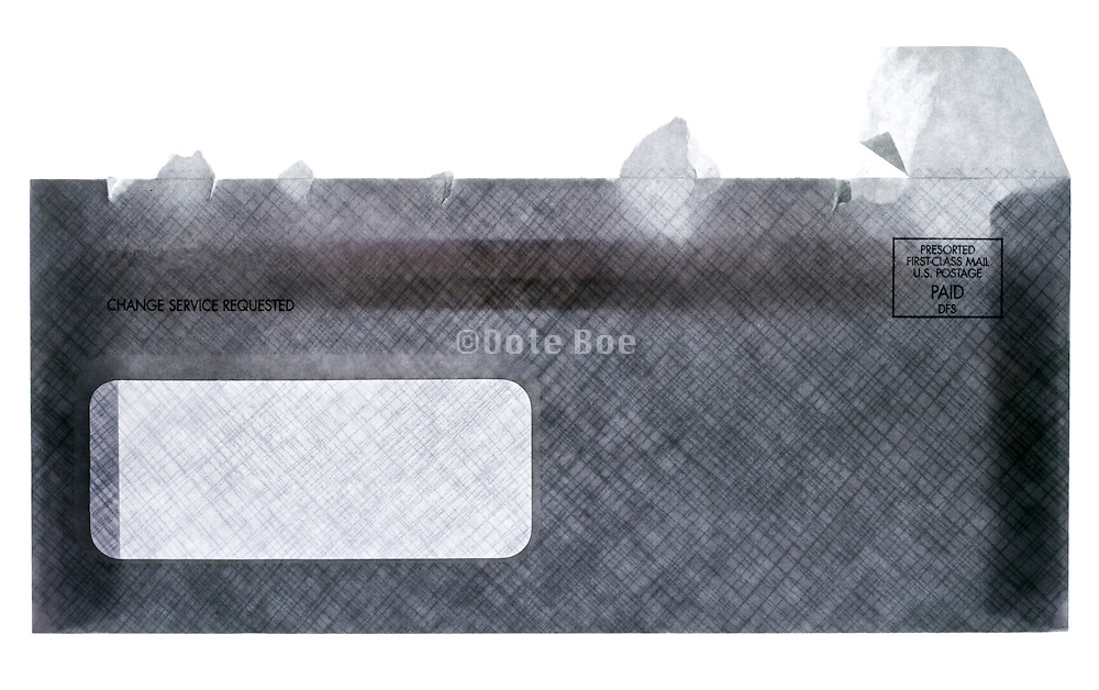 an opened security business envelope for payment front view with change service requested text
