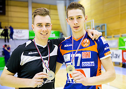 Tin Vrabl of Panvita Pomgrad and Mario Koncilja of ACH after the volleyball game between OK Panvita Pomgrad and ACH Volley in Final of 1st DOL Slovenian National Championship 2014, on April 15, 2014 in Murska Sobota, Slovenia. ACH won 3-1 and became Slovenian Volleyball Champion 2014. Photo by Vid Ponikvar / Sportida