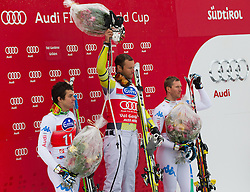 14.12.2012, Sasslong, Groeden, ITA, FIS Weltcup, Ski Alpin, Super G, Herren, Podium, im Bild v.l.n.r. Matteo Marsaglia (ITA, Platz 2), Aksel Lund Svindal (NOR, Platz 1) und Werner Heel (ITA, Platz 3) // f.l.t.r. 2nd place Matteo Marsaglia of Italy, 1st place Aksel Lund Svindal of Norway and 3th place Werner Heel of Italy celebrate on Podium of Super G of the FIS Ski Alpine Worldcup at Sasslong course, Groeden, Italy on 2012/12/14. EXPA Pictures © 2012, PhotoCredit: EXPA/ Johann Groder