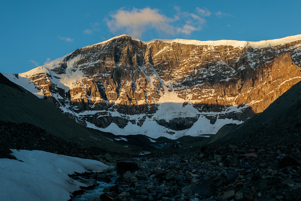 Grand Central Couloir on Mt Kitchener at sunrise, Alberta, Canada