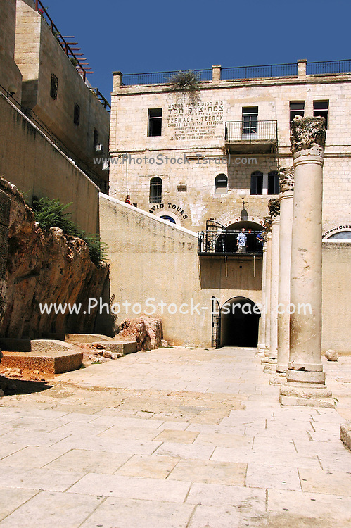 Jerusalem, Israel, The Jewish Quarter at the Old City. The Cardo, the main street of the Byzantine era Jerusalem, the road and stone pillars