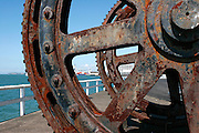 cogs rusting sculpture at Wynyard Wharf, Auckland Viaduct, New Zealand