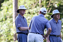 Tom O'Brien talks with Rich Neuheisel during the Chick-fil-A Peach Bowl Challenge at the Ritz Carlton Reynolds, Lake Oconee, on Tuesday, April 30, 2019, in Greensboro, GA. (Karl L. Moore via Abell Images for Chick-fil-A Peach Bowl Challenge)
