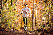 Nov 12, 2014; Baltimore, MD, USA; CrossFitter and fitness model Brittany Walter runs the Jones Falls Trail at Robert E Lee Park in Baltimore, MD. Mandatory Credit: Brian Schneider-www.ebrianschneider.com