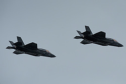 F-35B jets fly over aircraft carriers Rosyth 01/07/2016<br />The first F-35B Aircraft perform a flypast over the HMS Queen Elizabeth and HMS Prince of Wales at Rosyth Dockyard<br />(c)Craig Brown| Edinburgh Elite media