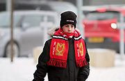Young MK Dons fan arriving at the stadium before the EFL Sky Bet League 1 match between Milton Keynes Dons and Bristol Rovers at stadium:mk, Milton Keynes, England on 3 March 2018. Picture by Nigel Cole.