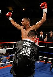 June 20, 2007; New York, NY, USA;  Harrison Cuello celebrates his KO win over Edgar Santana at the Grand Ballroom at the Manhattan Center in New York, NY.  Cuello shocked the favored Santana by 3rd round KO.