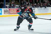 KELOWNA, CANADA - DECEMBER 3: Dillon Dube #19 of Kelowna Rockets skates against the Saskatoon Blades on December 3, 2014 at Prospera Place in Kelowna, British Columbia, Canada.  (Photo by Marissa Baecker/Shoot the Breeze)  *** Local Caption *** Dillon Dube;