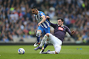 Brighton central midfielder, Beram Kayal (7) and Derby County midfielder George Thorne (34) during the Sky Bet Championship match between Brighton and Hove Albion and Derby County at the American Express Community Stadium, Brighton and Hove, England on 2 May 2016.