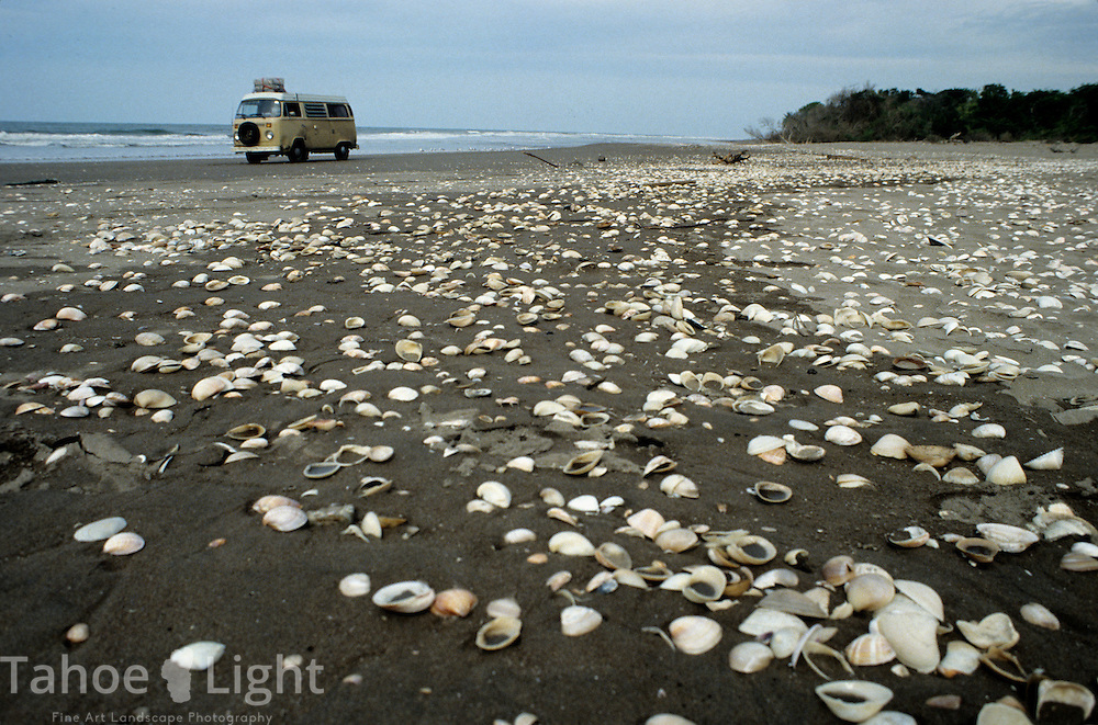 A volkswagen camper van on a shell covered beach on the Pacific coast of mexico.