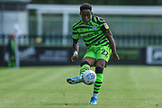 Forest Green Rovers Udoka Godwin-Malife(22) passes the ball forward during the EFL Sky Bet League 2 match between Forest Green Rovers and Grimsby Town FC at the New Lawn, Forest Green, United Kingdom on 17 August 2019.