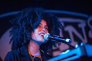 Lisa-Kainde Diaz of Ibeyi performs on stage at King Tuts on November 10, 2015 in Glasgow,Scotland