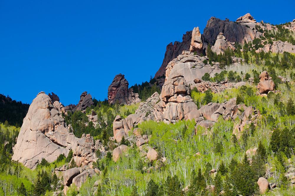Granite rock spires and boulders, Lost Creek Wilderness, Colorado.
