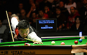 19.02.2016. Cardiff Arena, Cardiff, Wales. Bet Victor Welsh Open Snooker. Neil Robertson versus Ding Junhui. Ding Junhui at the table.