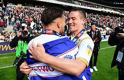 Russell Martin of Milton Keynes Dons celebrates winning promotion to Sky Bet League One with David Wheeler of Milton Keynes Dons  - Mandatory by-line: Joe Meredith/JMP - 04/05/2019 - FOOTBALL - Stadium MK - Milton Keynes, England - Milton Keynes Dons v Mansfield Town - Sky Bet League Two