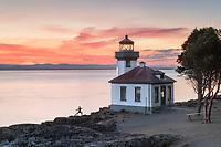 Lime Kiln Lighthouse at sunset, Lime Kiln Point State Park, San Juan Island, Washington