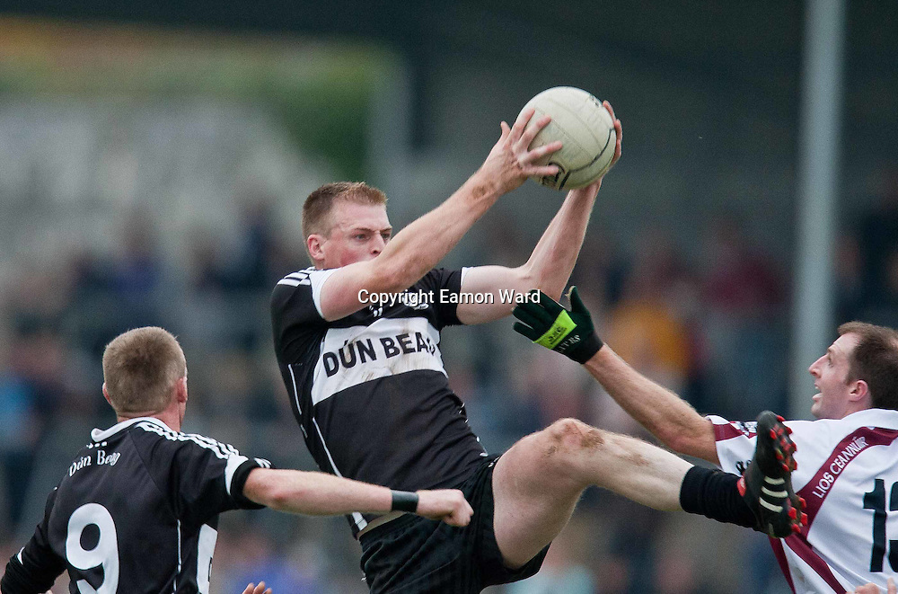 Frank O'Dea in possession for Doonbeg during the Doonbeg V Liscannor ,Clare Senior Football County final in Ennis on Sunday. Photograph by Eamon Ward