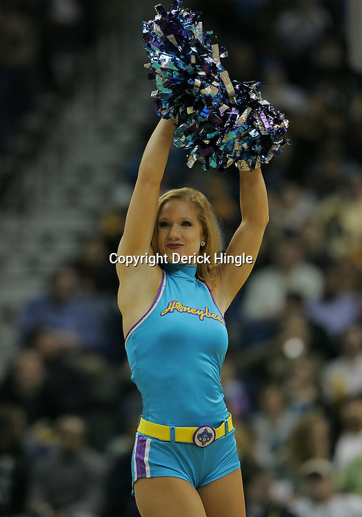 Jan 02, 2010; New Orleans, LA, USA; A New Orleans Hornets Honeybees dancer performs during the second half of a game against the Houston Rockets at the New Orleans Arena. The Hornets defeated the Rockets 99-95.  Mandatory Credit: Derick E. Hingle-US PRESSWIRE