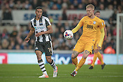 Simon Makienok (Preston North End) colliects the ball as Isaac Hayden (Newcastle United) watches during the EFL Cup 4th round match between Newcastle United and Preston North End at St. James's Park, Newcastle, England on 25 October 2016. Photo by Mark P Doherty.