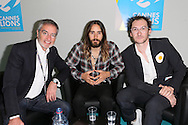 CANNES, FRANCE - JUNE 18:  Bob Pittman, Jared Leto and Benjamin Palmer attend A Conversation With Benjamin Palmer during Cannes Lions Festival at the Palais des Festivals on June 18, 2014 in Cannes, France.  (Photo by Tony Barson/Getty Images for Clear Channel)