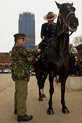Pictures show Sergeant Major Bill Stewart of The Royal Canadian Mounted Police training with the Household Cavalry at Knightsbridge Barracks, London. 22/05/2012.<br /> <br /> In the run up to the Jubilee, The Queen has invited the Canadian Mounties to act as her personal body guard.<br /> Re-enacting a gesture made by her father King George VI in 1936, The Queen has seen fit to celebrate the Commonwealth by inviting the Royal Canadian Mounted Police to&nbsp;take part in British ceremonial this summer.<br /> A strong relationship between the Royal Family and the Mounties was forged in 1904 when The Queen's grandfather, King Edward VII, granted the Canadian Mounted Police the prefix 'Royal' in recognition of the Force's many services to Canada and the Empire.<br /> On Wednesday 23 May, fifteen men and horses from the Royal Canadian Mounted Police will ride down the Mall for the 11 o'clock Changing of the Queen&rsquo;s Life Guard ceremony with the Household Cavalry.<br /> After special training by members of the Household Cavalry riding staff, the Mounties will be performing the centuries&rsquo; old tradition for real on Wednesday and Friday next week. <br /> 2012.<br /> Picture by Trooper Mark Larner, RY.
