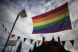 "© Licensed to London News Pictures . 22/08/2014 .  Manchester , UK . Rainbow flag on Canal Street . Manchester Pride "" Big Weekend "" in Manchester's "" Gay Village "" today ( 22nd August 2014 ) . Photo credit : Joel Goodman/LNP"