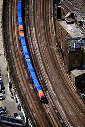 UK ENGLAND LONDON 22JUL08 - Aerial view detail of mainline train line in London during zeppelin flight...jre/Photo by Jiri Rezac..© Jiri Rezac 2008..Contact: +44 (0) 7050 110 417.Mobile:  +44 (0) 7801 337 683.Office:  +44 (0) 20 8968 9635..Email:   jiri@jirirezac.com.Web:    www.jirirezac.com..© All images Jiri Rezac 2008 - All rights reserved.