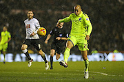 Brighton's Bobby Zamora takes a shot during the Sky Bet Championship match between Derby County and Brighton and Hove Albion at the iPro Stadium, Derby, England on 12 December 2015. Photo by Shane Healey.