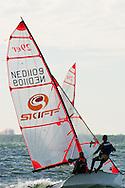 Miami, FL, USA, January 4, 2014 - The team of Veronika Zivna and Jakob Halnuzka rsailing upwind at the 29er Nationals held at Coconut Grove Sailing Club, Jan 1-4, 2013.